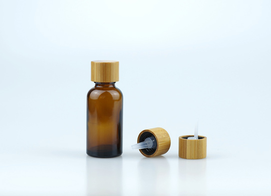 Amber Glass Bottle with Real Bamboo 18-415 Screw Cap Inner Plug