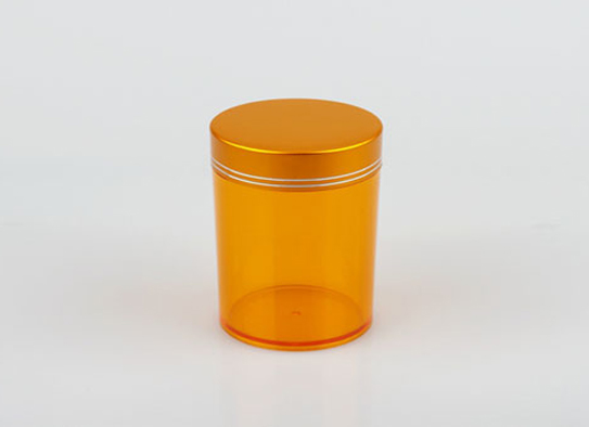 Transparent Orange Plastic Bottle Pill Bottle With Aluminium Screw Cap